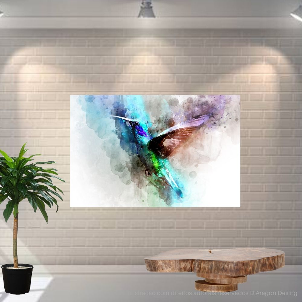 Placa Decorativa MDF Colibri Abstrato