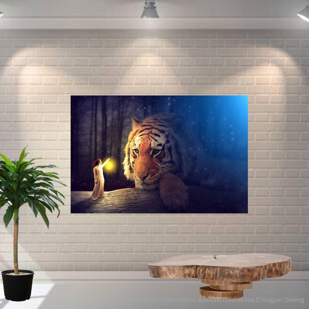 Placa Decorativa MDF Fada e Tigre