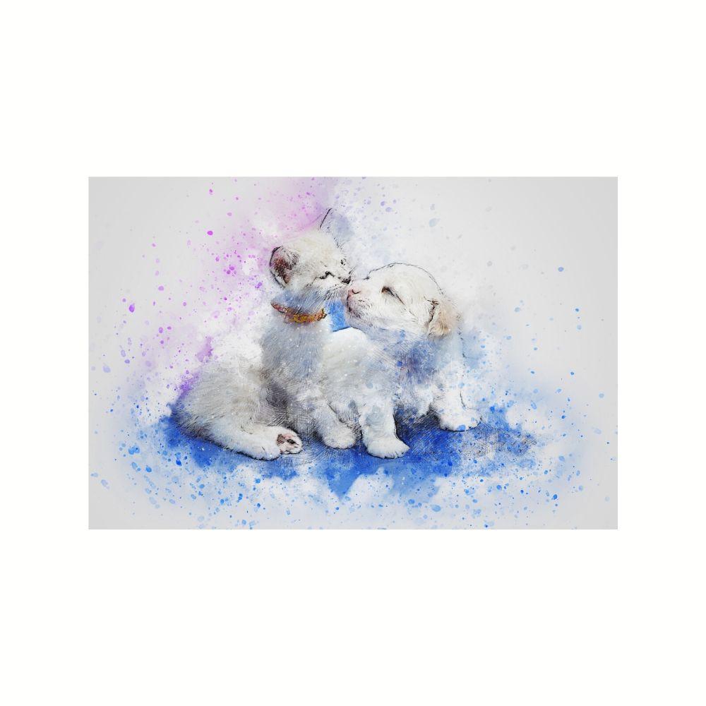 Placa Decorativa MDF Gatinho e Cachorrinho Abstrato