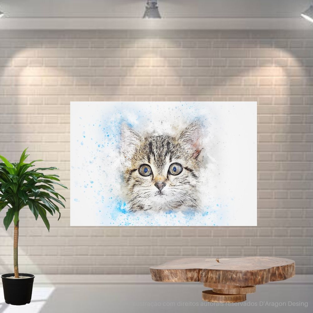 Placa Decorativa MDF Gato Murisco Abstrato
