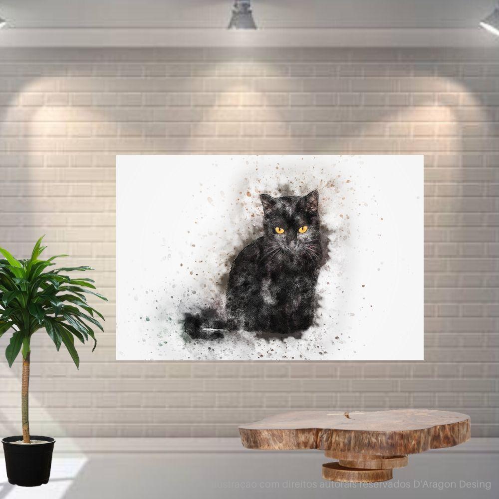 Placa Decorativa MDF Gato Preto Abstrato
