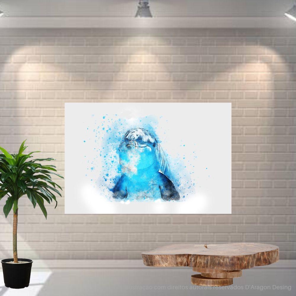 Placa Decorativa MDF Golfinho Abstrato Azul Água