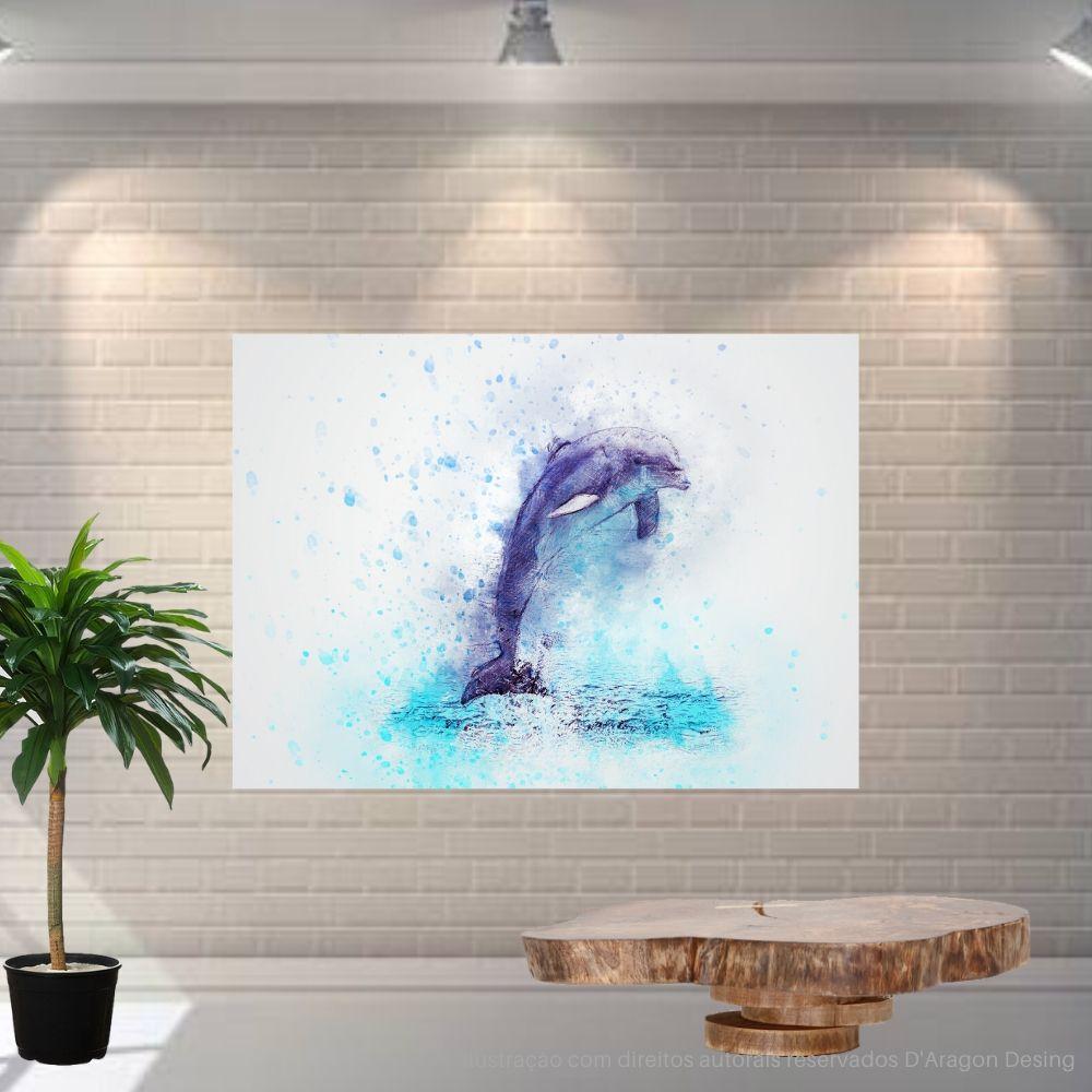Placa Decorativa MDF Golfinho Azul Abstrato