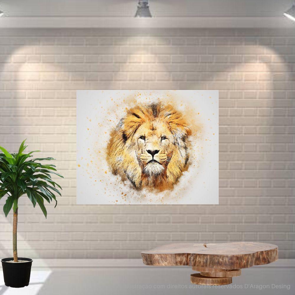 Placa Decorativa MDF Leão Esotérico Abstrato