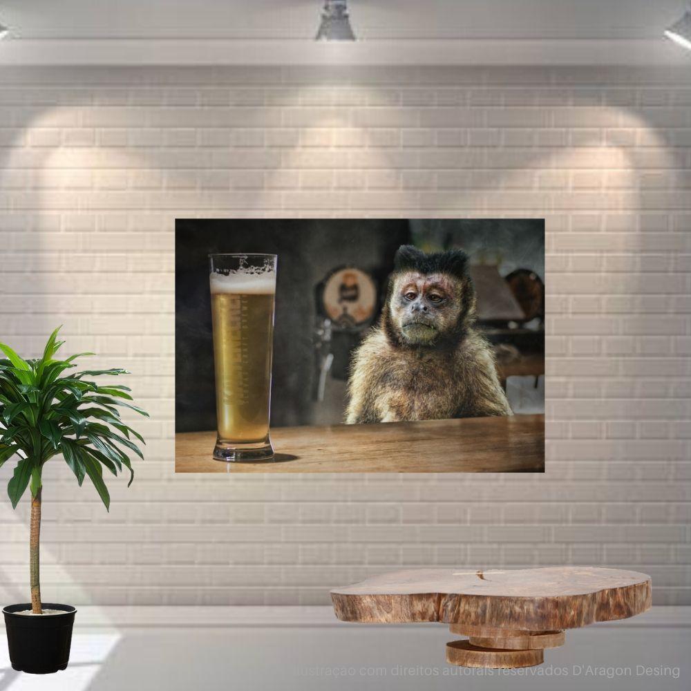 Placa Decorativa MDF Macaco Pensativo Cerveja
