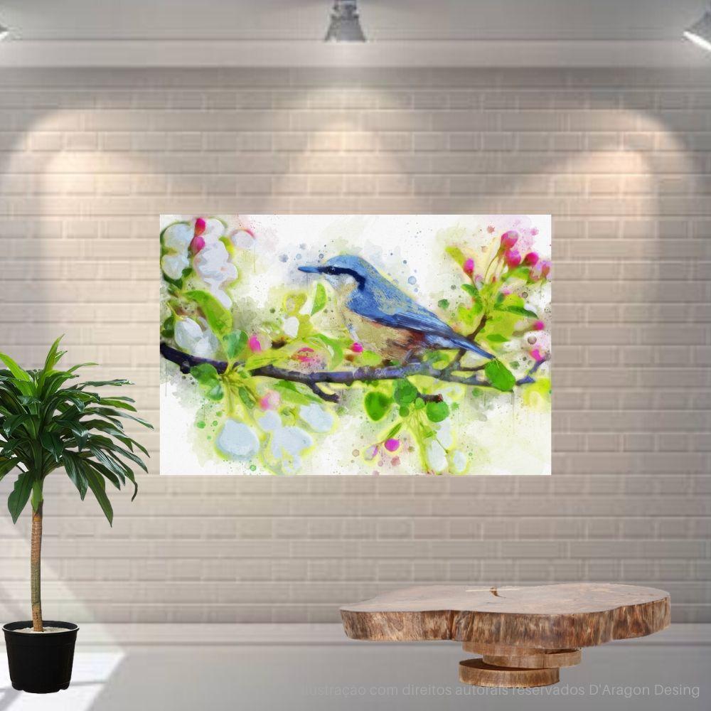 Placa Decorativa MDF Passarinho Galho de Flores