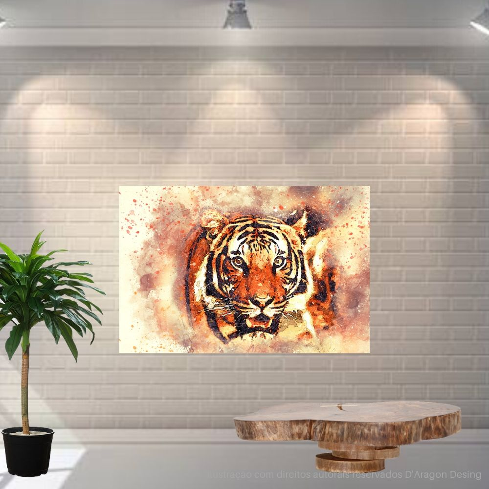 Placa Decorativa MDF Tigre Esotérico Abstrato