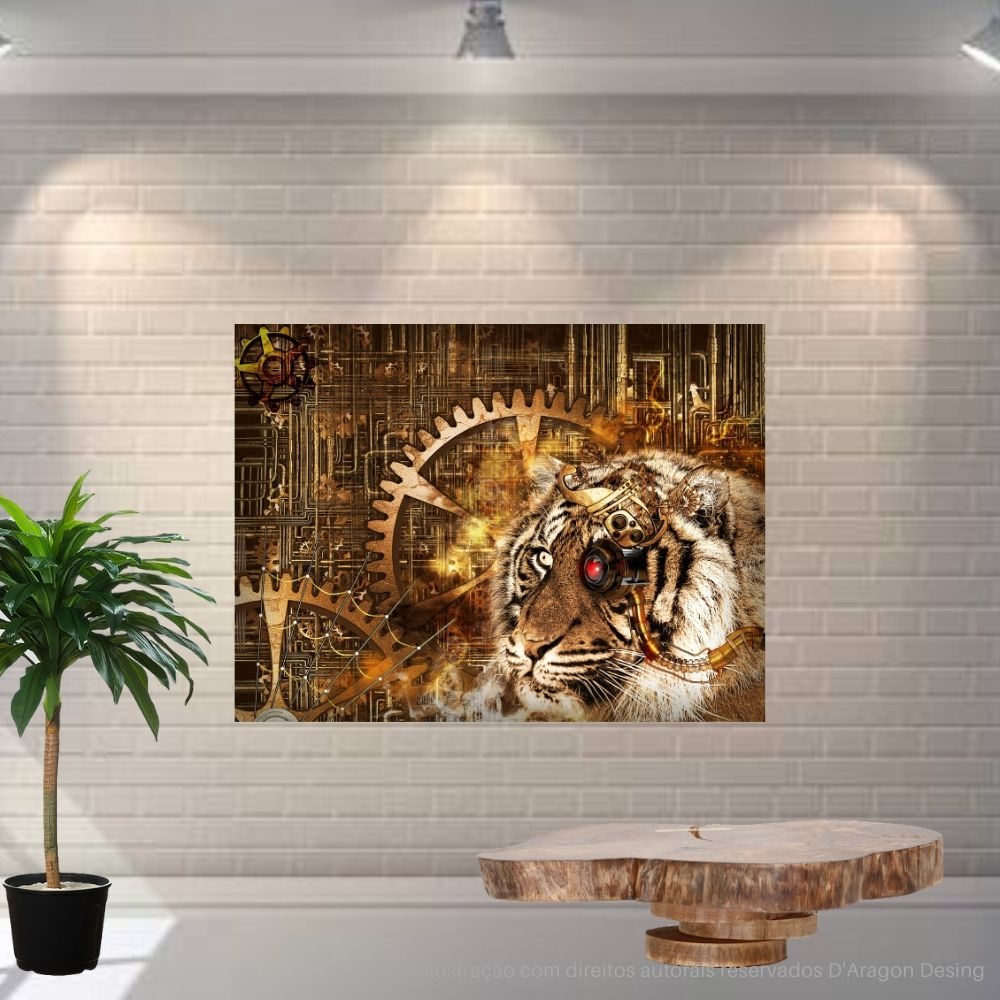 Placa Decorativa MDF Tigre Mecânico Abstrato