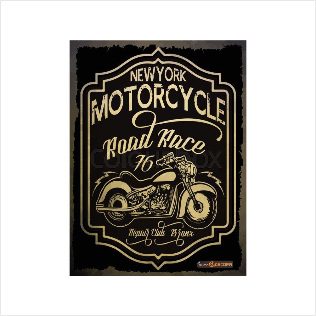 Placa Decorativa New York Motorcycle 76