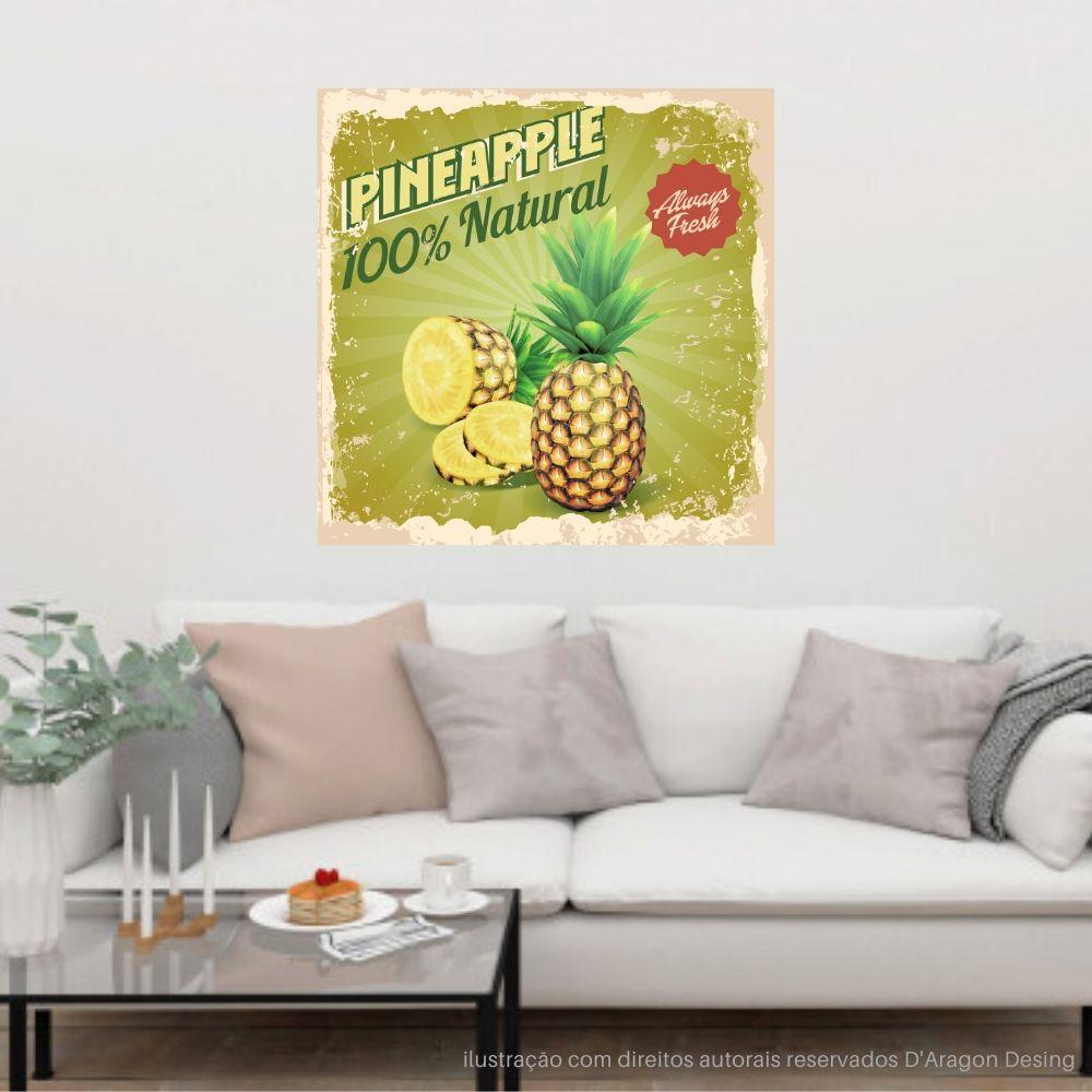 Placa Decorativa Pineapples Natural Cartaz Retro 30x30cm
