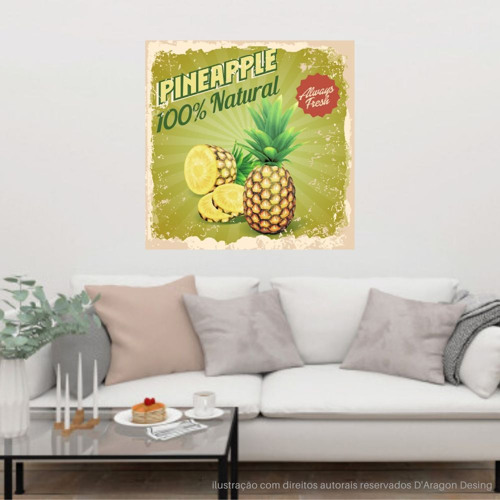 Placa Decorativa Pineapples Natural Cartaz Retro 30x30cm