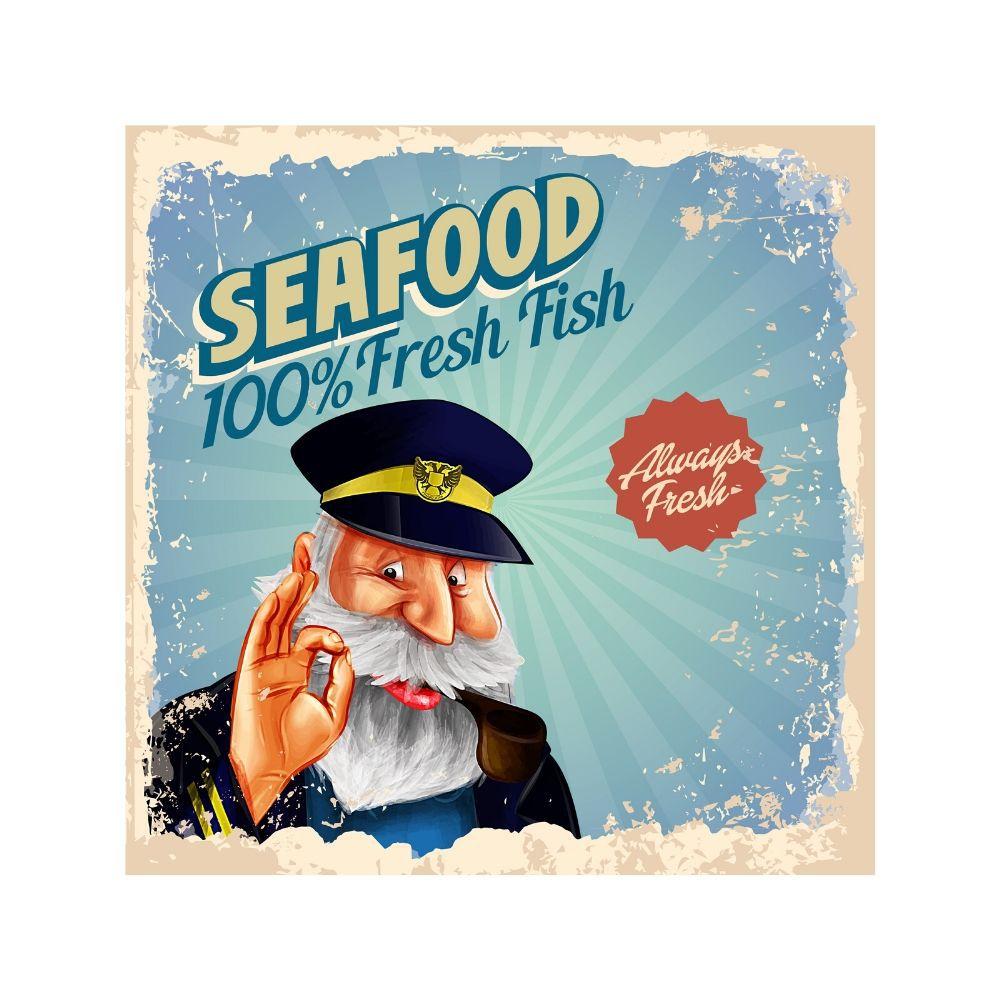 Placa Decorativa Seafood fresh Fish Cartaz Retro 30x30cm
