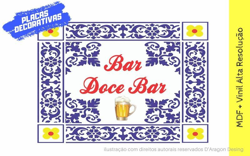 Placa Decorativa Vintage Bar Doce Bar