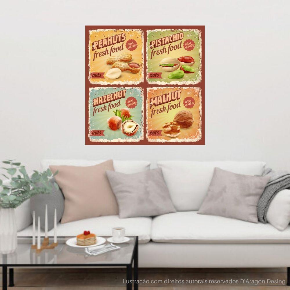 Placa Decorativa Vintage Fresh Food Cartaz Retro 30x30cm