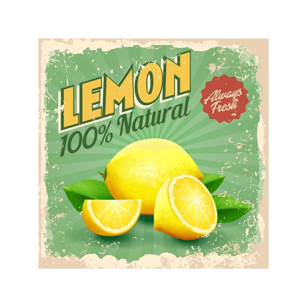 Placa Decorativa Vintage Lemon Natural Cartaz Retro 30x30cm