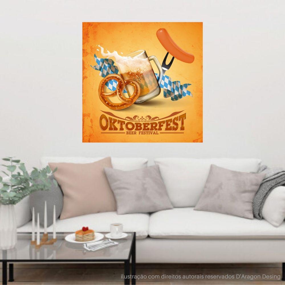 Placa Decorativa Vintage OktoberFest Cartaz Retro 30x30cm