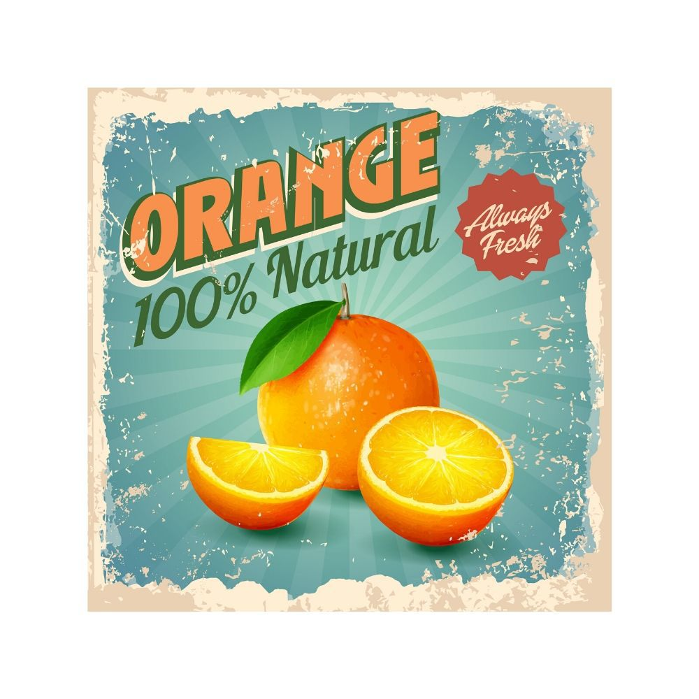Placa Decorativa Vintage Orange Natural Cartaz Retro 30x30cm