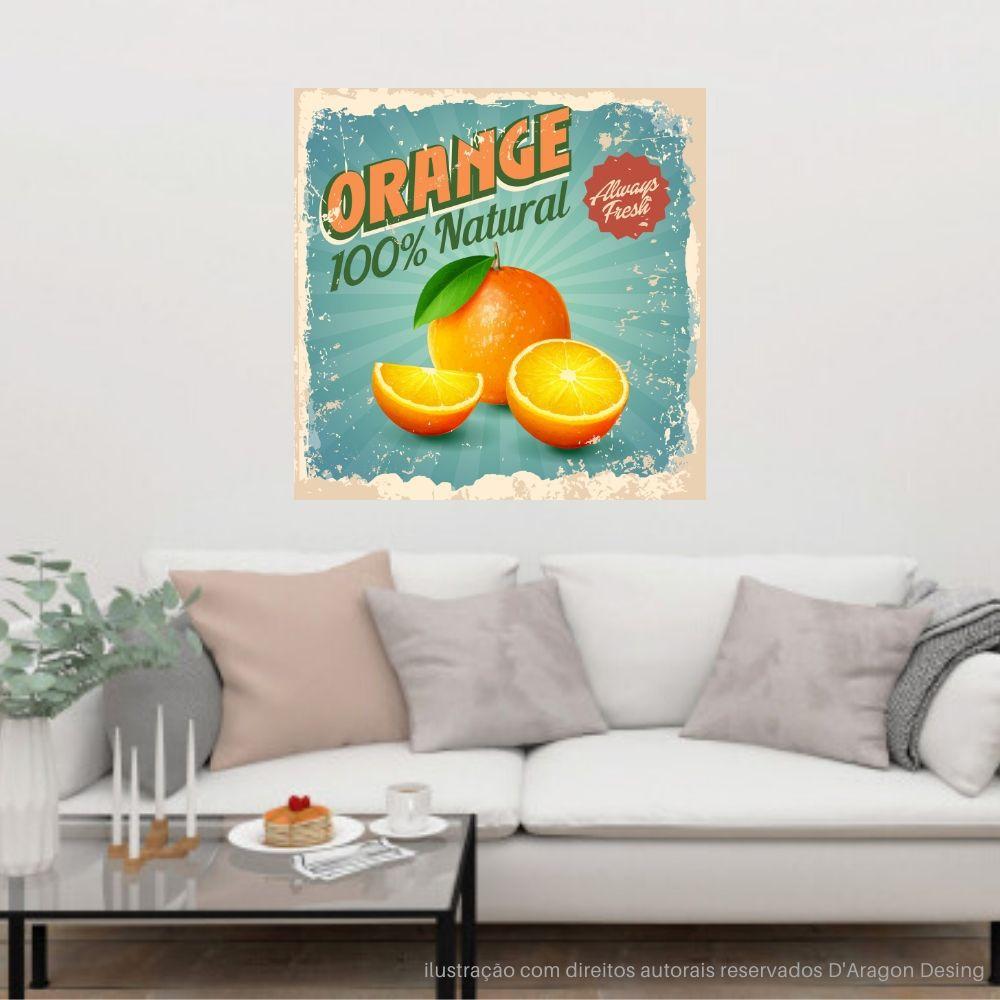 Placa Decorativa Vintage Orange Natural Cartaz Retro 30x30cm