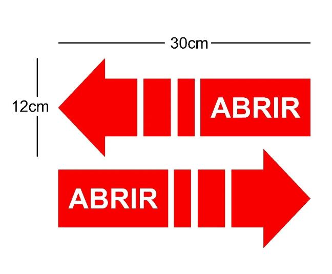 Placa Indicativa Abrir Porta com Seta em Vermelho 2pc