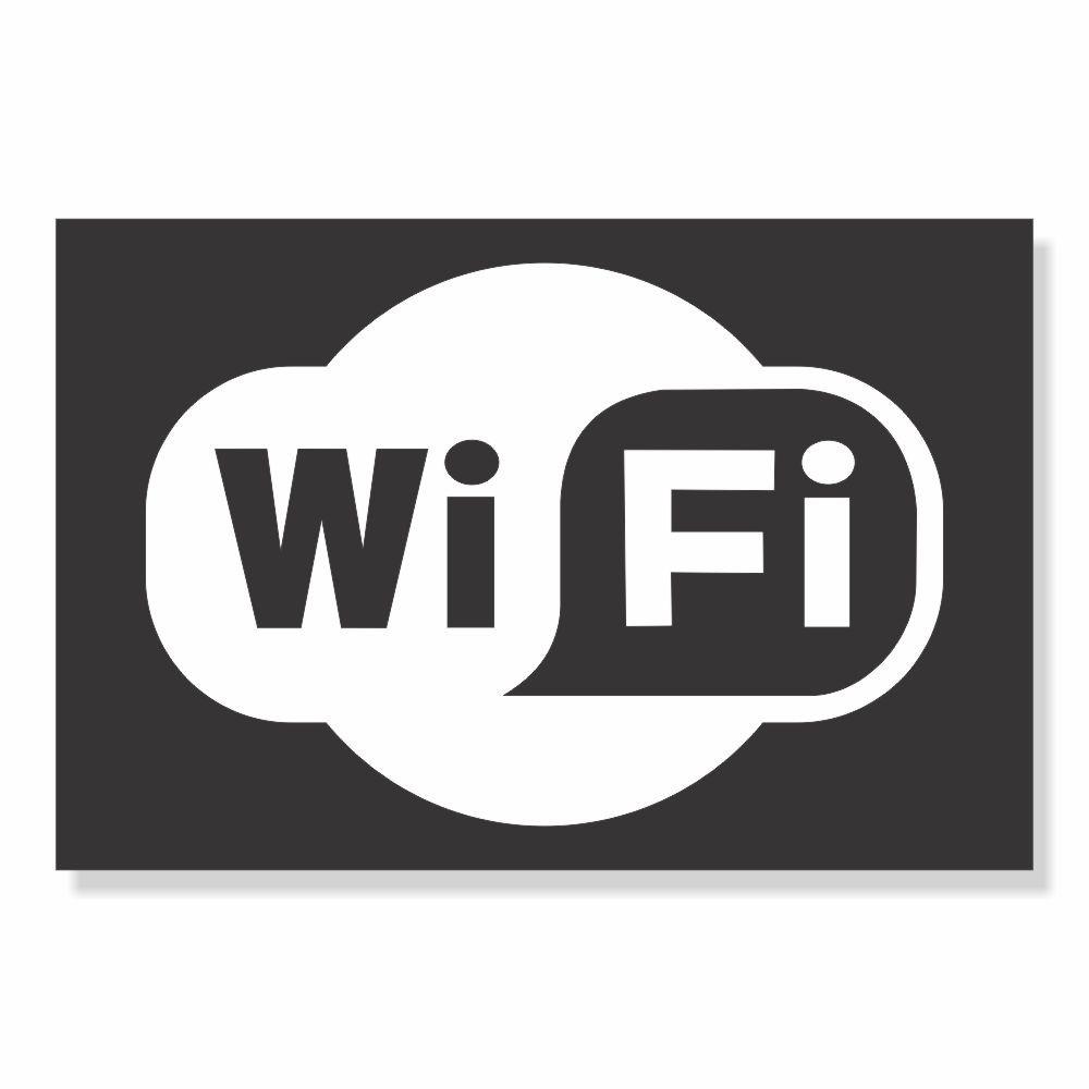 Placa PVC Área de Wifi Branco e Preto