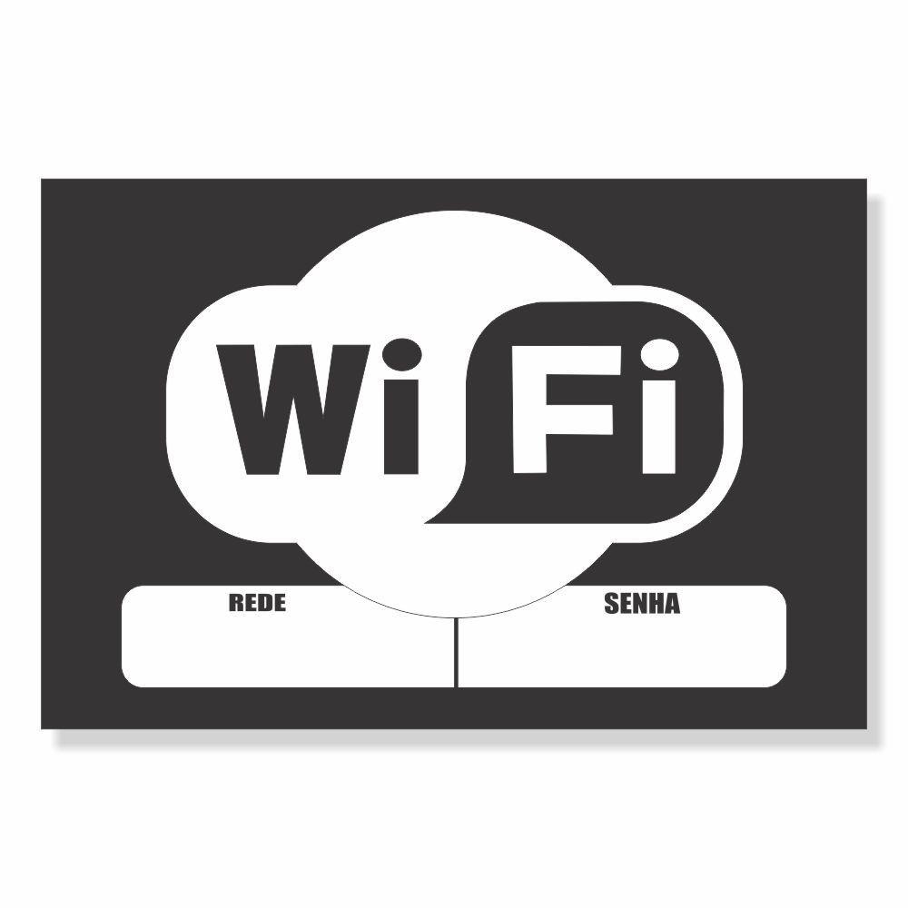 Placa PVC Área de Wifi Branco e Preto Espaço para Senha