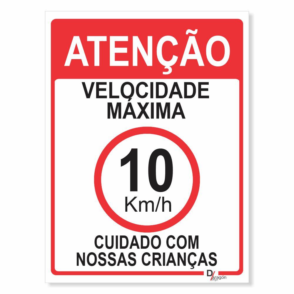 Placa PVC Atenção Velocidade Máxima 10km