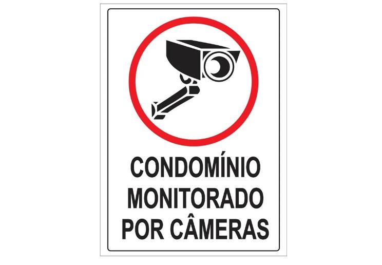 Placa PVC Condomínio Monitorado por Câmeras 18x23cm