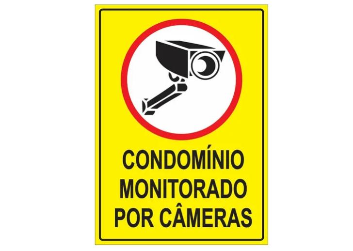 Placa PVC Condomínio Monitorado por Câmeras 18x23cm Amarela