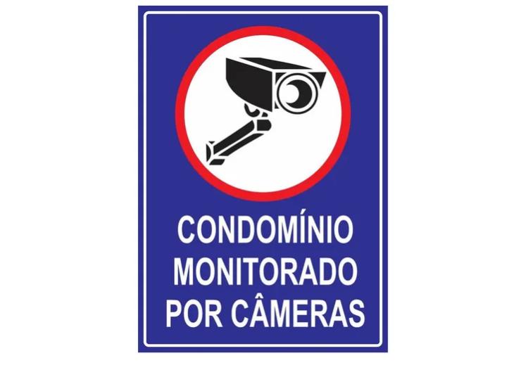 Placa PVC Condomínio Monitorado por Câmeras 18x23cm Azul