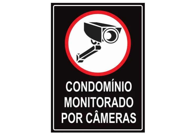 Placa PVC Condomínio Monitorado por Câmeras 18x23cm Preta