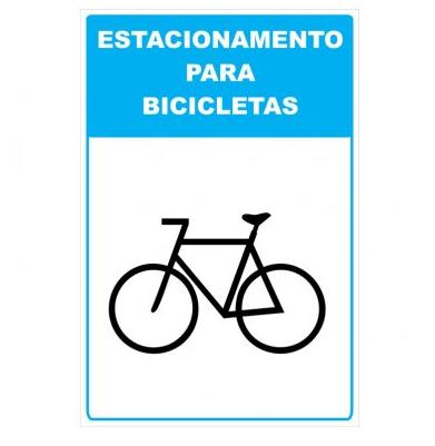 Placa PVC Estacionamento para Bicicletas Bike