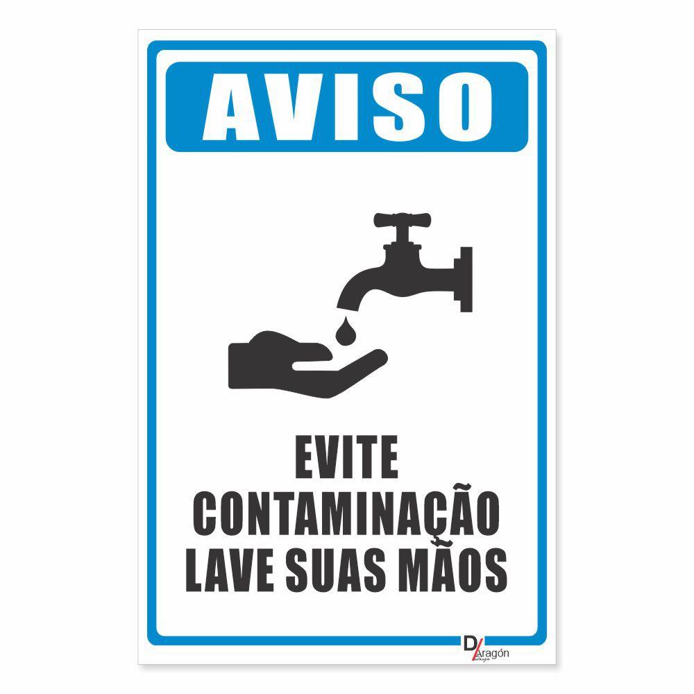 Placa PVC Evite Contaminação Lave as Mãos