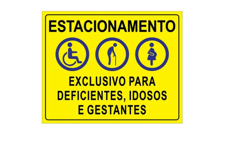 Placa PVC Exclusivo Deficientes Idosos Gestantes Amarela