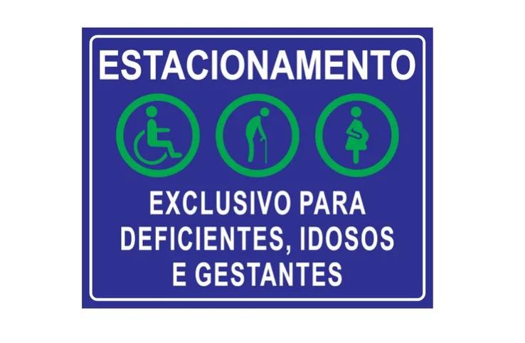 Placa PVC Exclusivo Deficientes Idosos Gestantes Azul