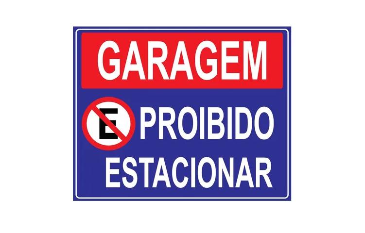 Placa PVC Garagem Proibido Estacionar 23x18cm Azul