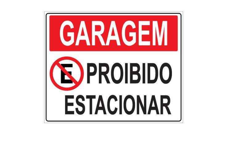 Placa PVC Garagem Proibido Estacionar 23x18cm