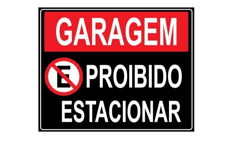 Placa PVC Garagem Proibido Estacionar 23x18cm Preta