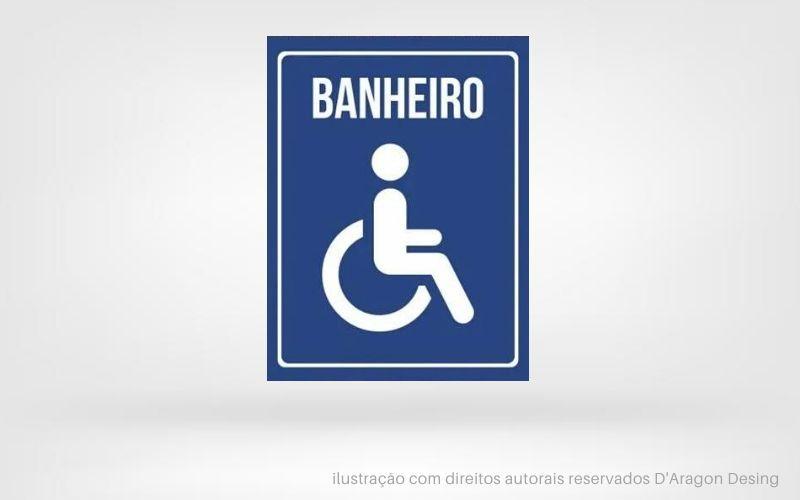 Placa PVC Indicativa Banheiro Cadeirante Cor Azul