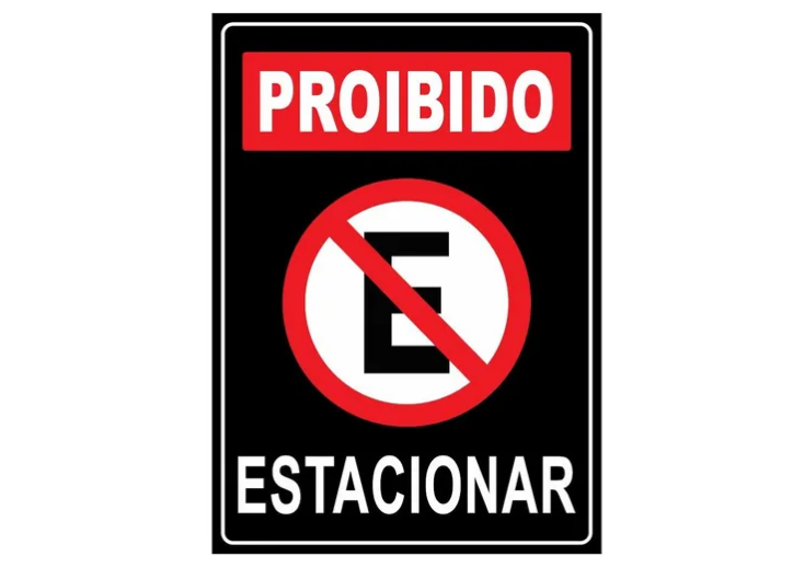 Placa PVC Indicativa Proibido Estacionar 18x23cm Preta