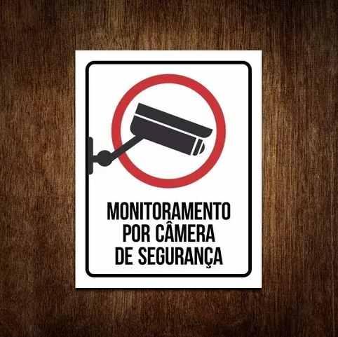 Placa PVC Monitoramento por Câmera de Segurança
