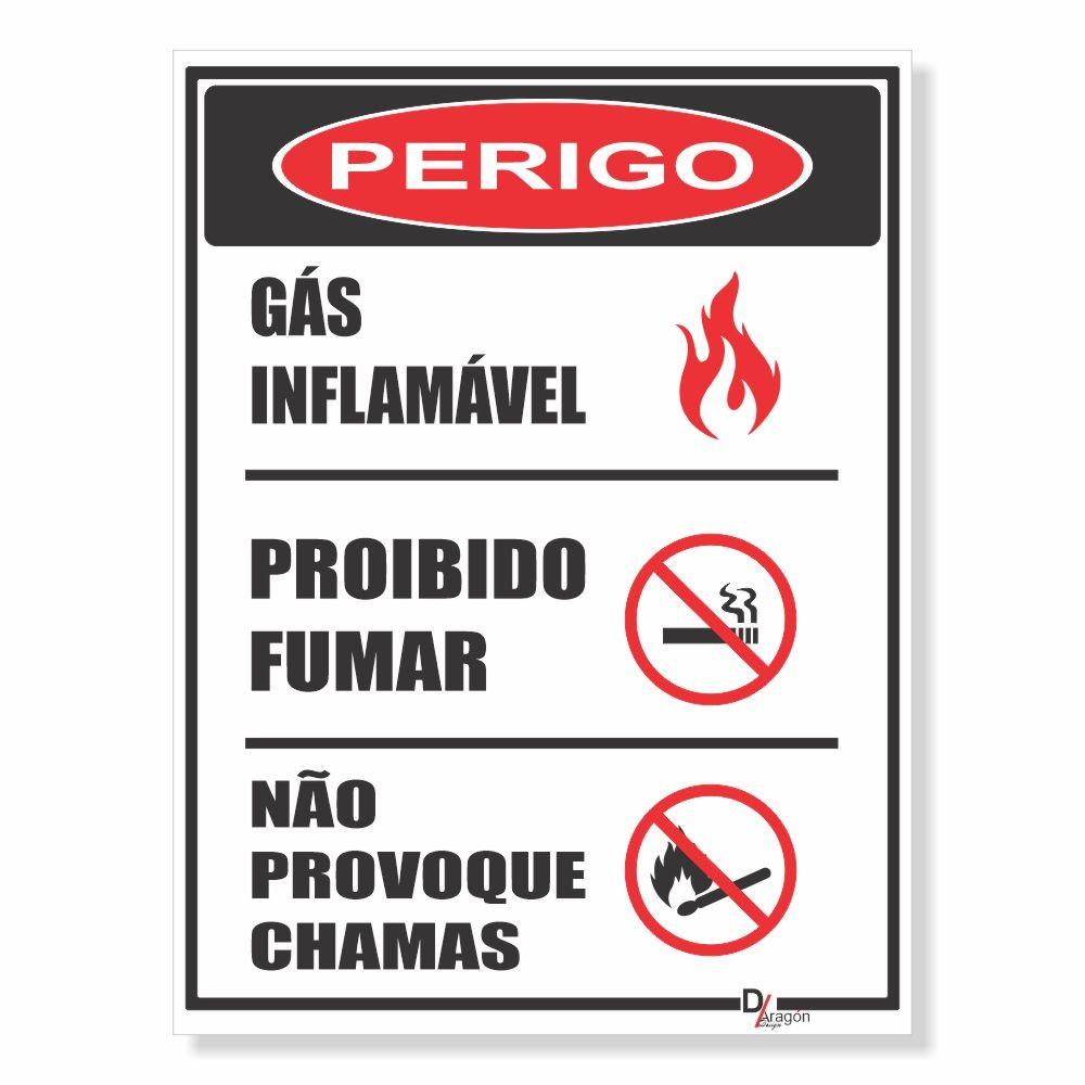 Placa PVC Perigo Gás Inflamável Proibido Fumar