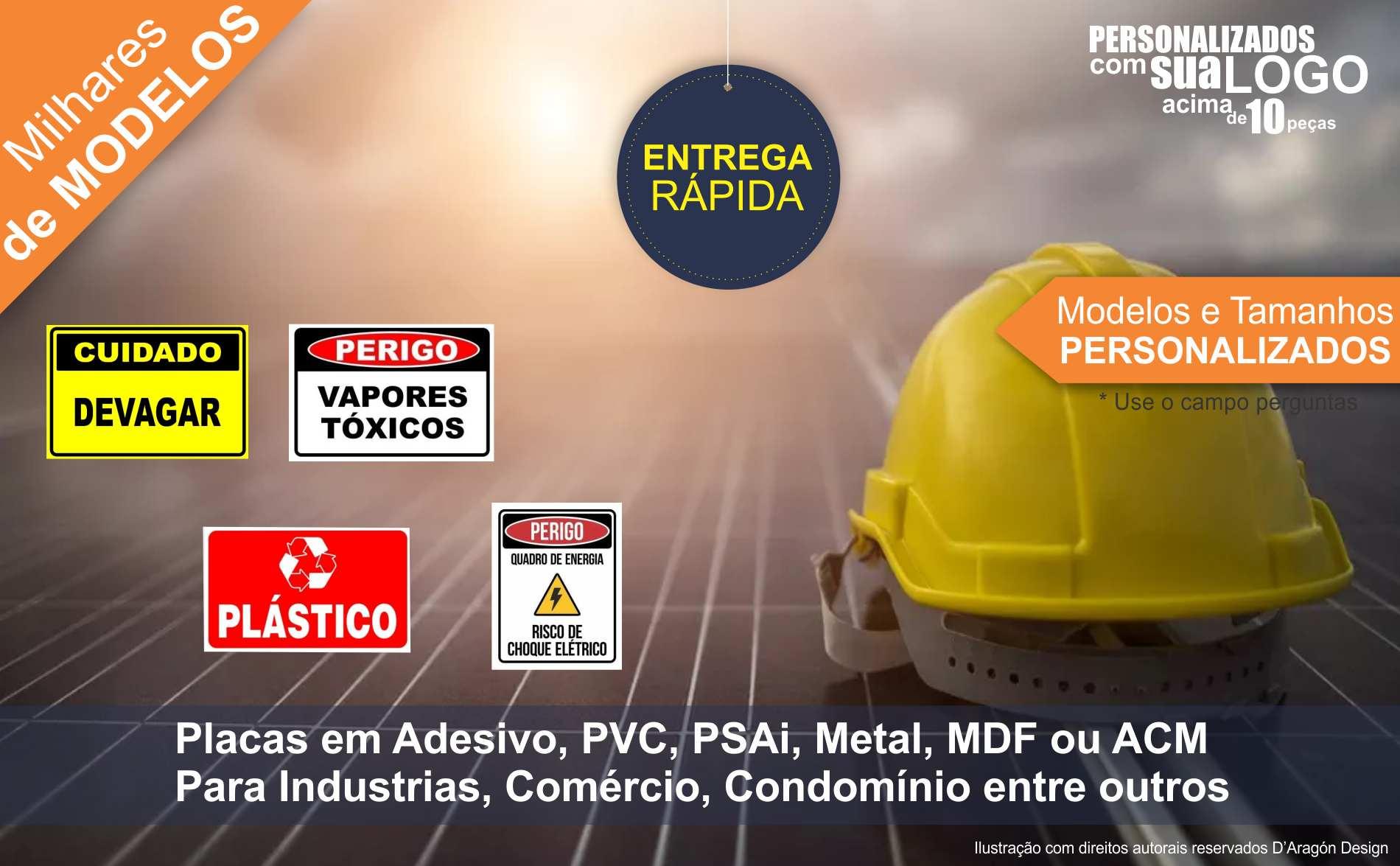 Placa PVC Perigo Material Cortante