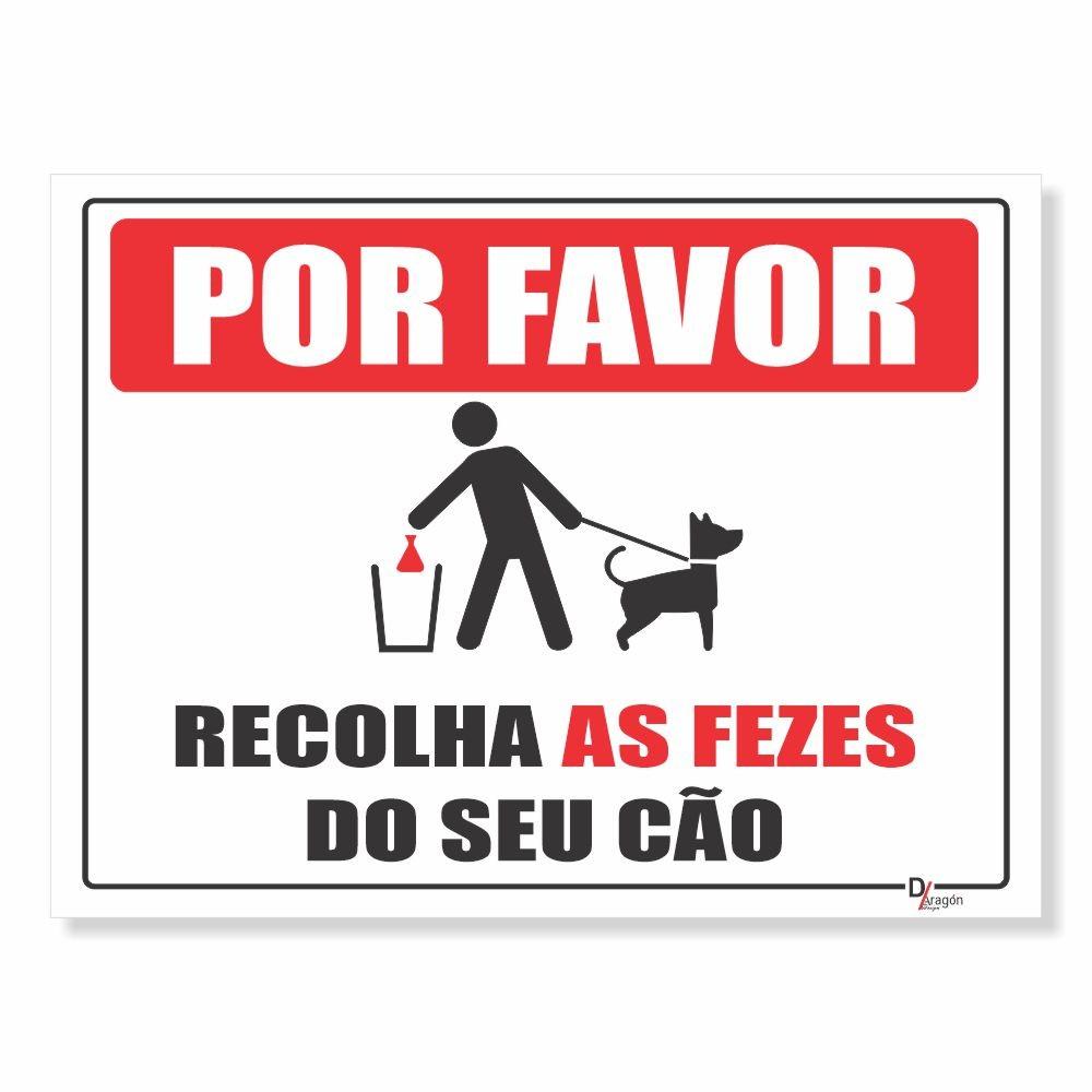 Placa PVC Por Favor Recolha as Fezes do seu Cão
