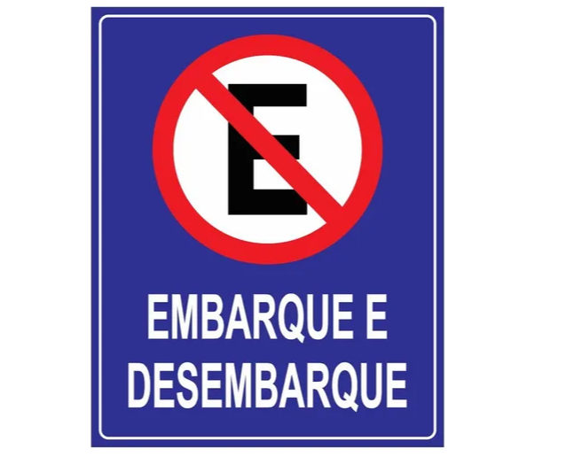 Placa PVC Proibido Estacionar Embarque e Desembarque Azul