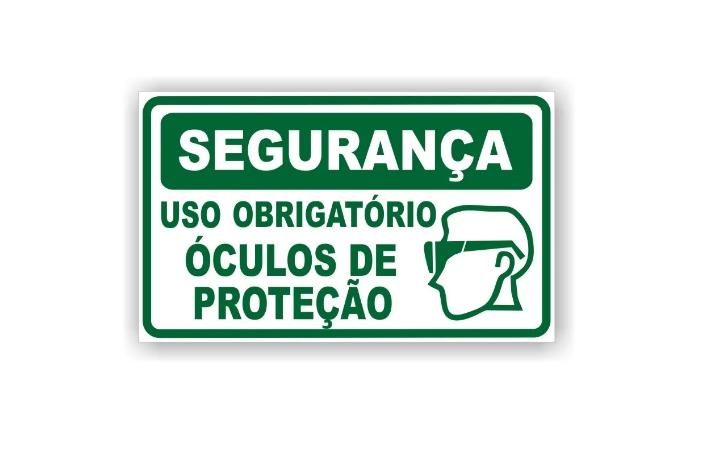Placa PVC Segurança Uso Obrigatório de Óculos