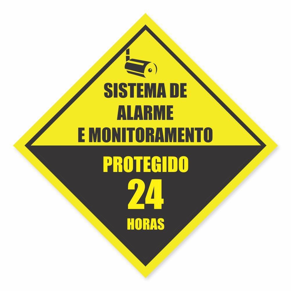 Placa PVC Sistema de Alarme e Monitoramento 24h Canto
