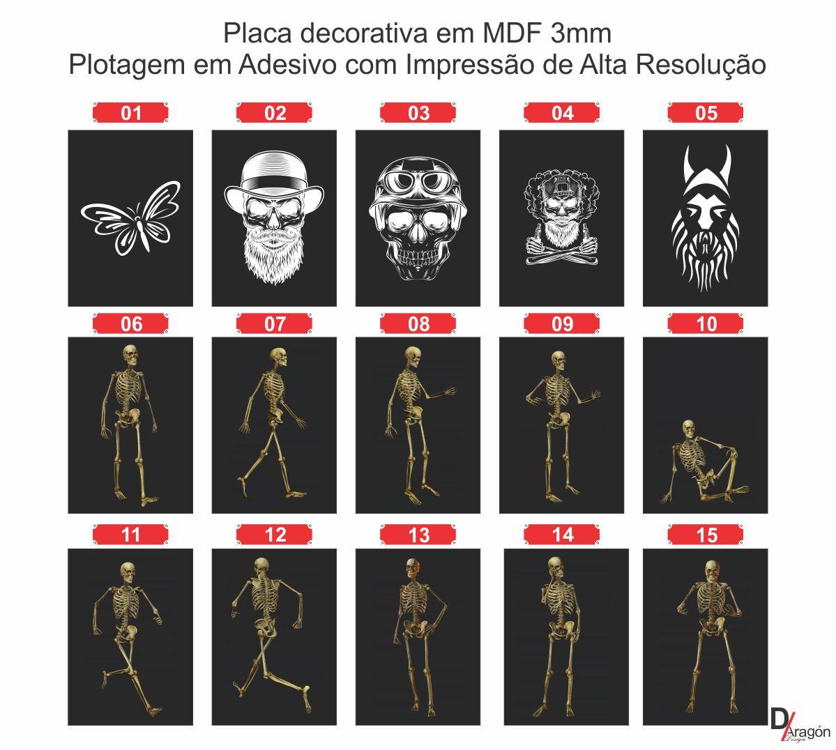 Placas Decorativas em MDF Black Caveiras