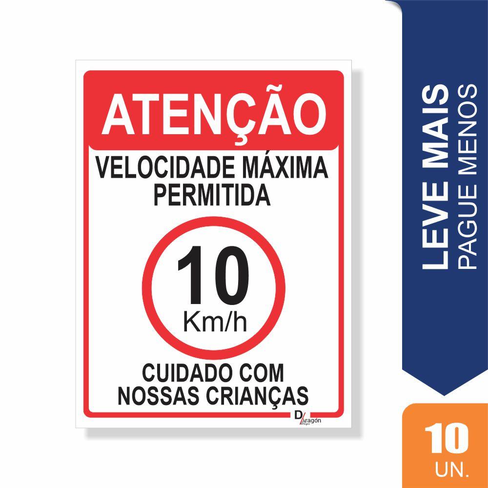 Placas Sinalização Velocidade Máx. Pct c/10 un PS2mm 20x27cm