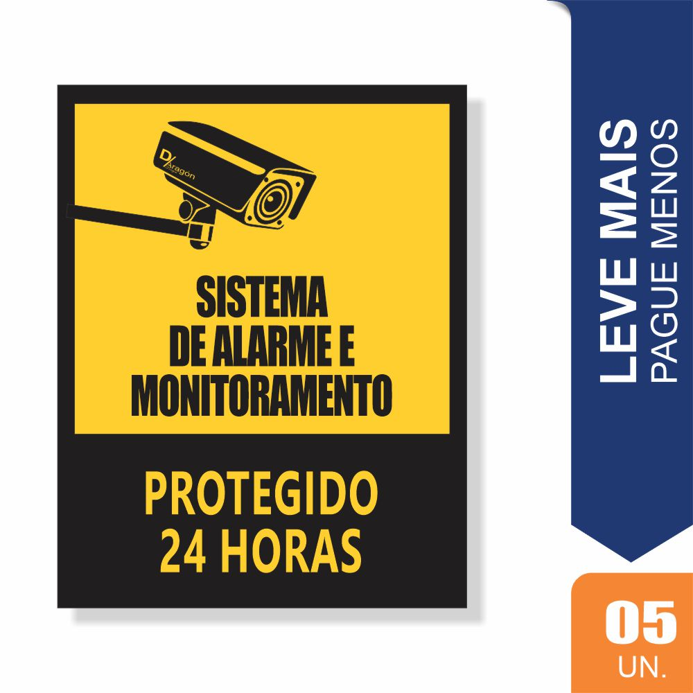 Placas Sistema de Alarme 24hrs Pct c/5 un PS1mm 20x27cm