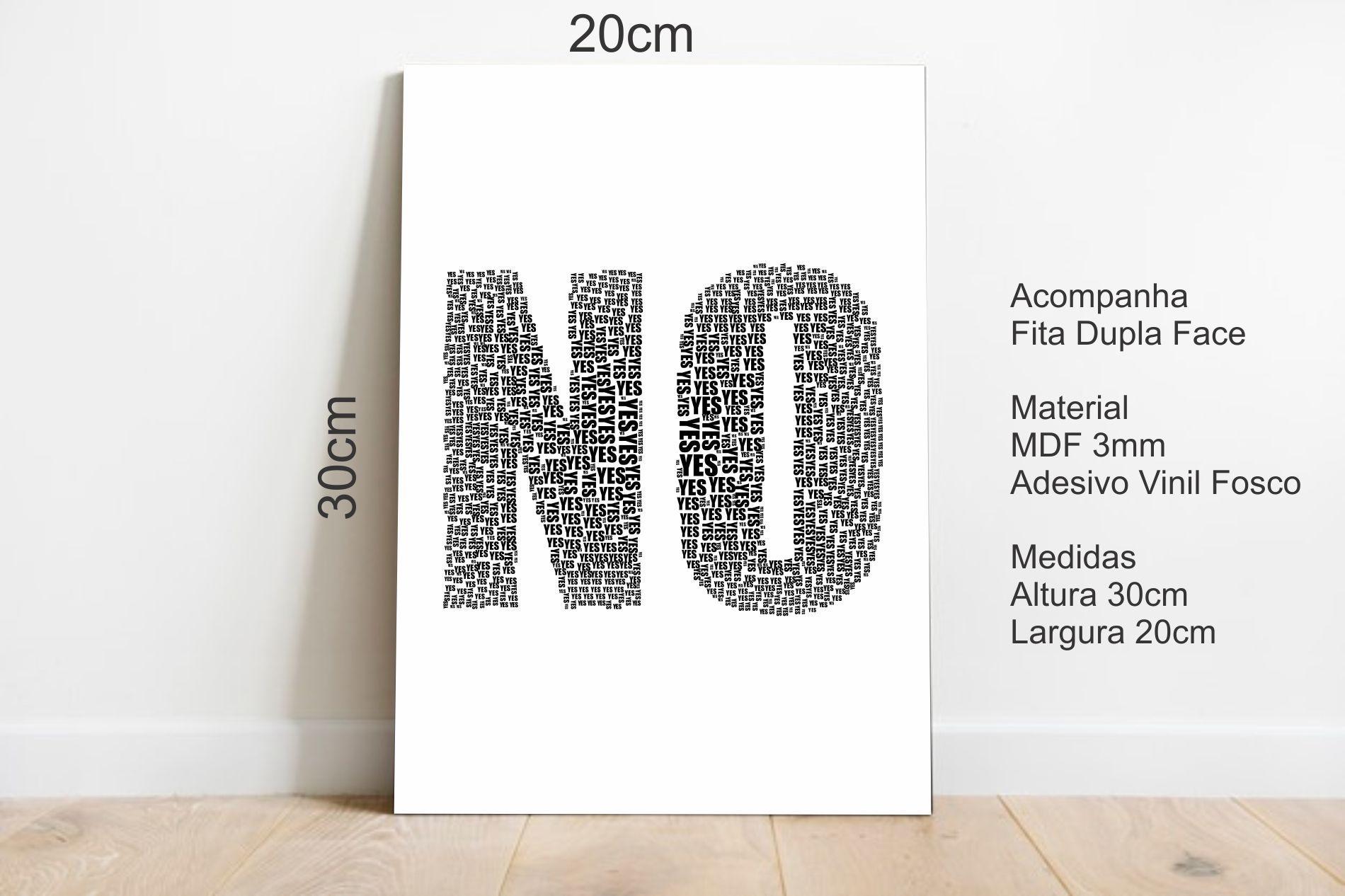 Quadro Decorativo Mensagem Oculta Yes No 20x30cm Branco